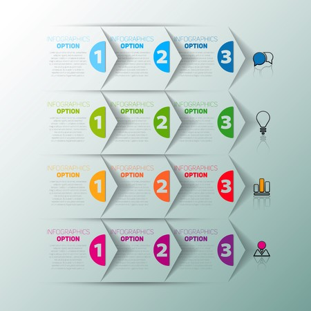 instruction manual: One two three, Set of three version, infographics paper progress steps for tutorial