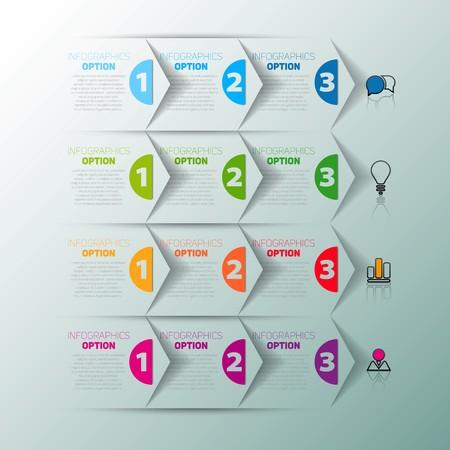 istruzione: Uno due tre, Set di tre versioni, carta infografica avanzamento passi per esercitazione Vettoriali