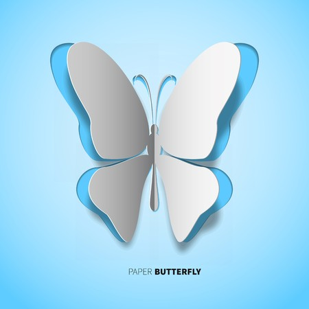 papercut: papercut butterfly on blue background