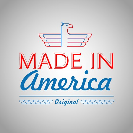 Made In The Usa Symbol With American Color Flag And Eagle Royalty