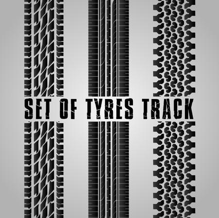 multiple lane highway: Set of Tires track Illustration