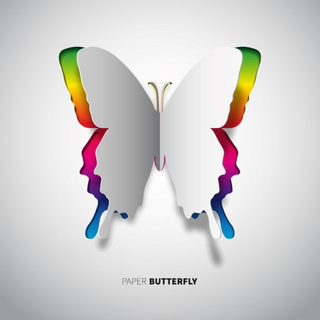 paper cut butterfly in rainbow color