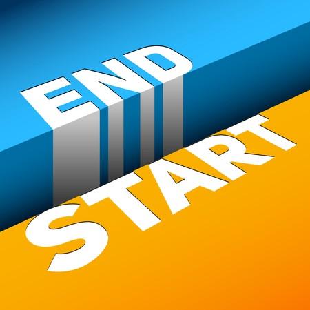 End and Start Gap, symbol of beginning illustration