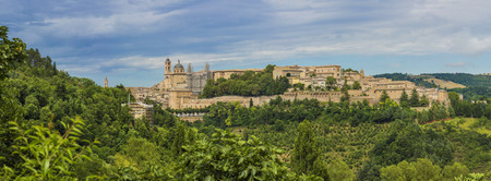 Panorama view of medieval castle in Urbino, Italy