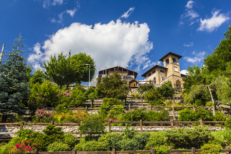 garden settlement: Austria village terrase garden in Alps