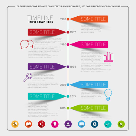 Vector timeline Infographic report template with paper stripes and icons 版權商用圖片 - 42426534