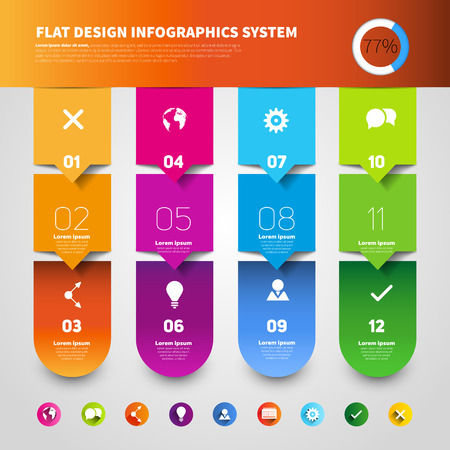Set of four version options, infographics vector paper progress steps for tutorial