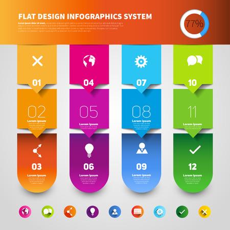 Set of four version options, infographics vector paper progress steps for tutorial
