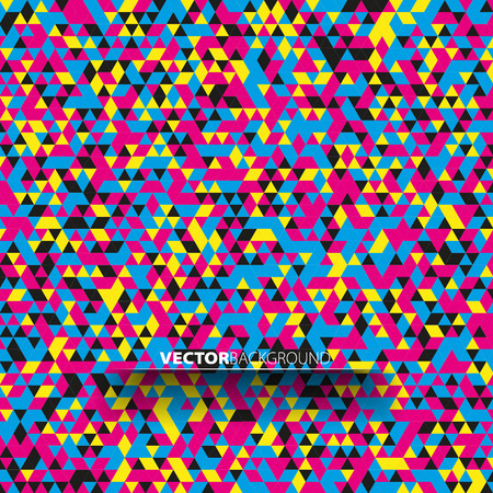 poster art: Cmyk background, triangle polygraphy