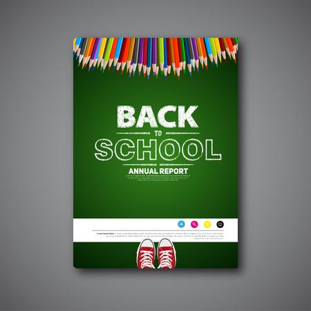 scuola: Torna a copertura scuola o brochure vettore, progettare articoli scritti a mano schizzo Vettoriali