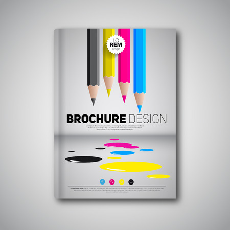 Brochure design template cover book, cmyk polygraphy