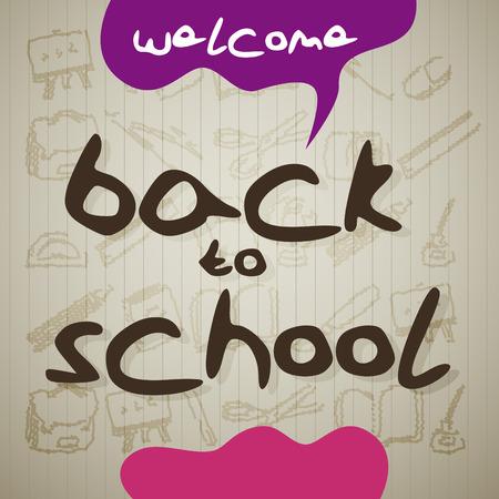 semester: Handwritten icolored Back to School letters, vector Illustration