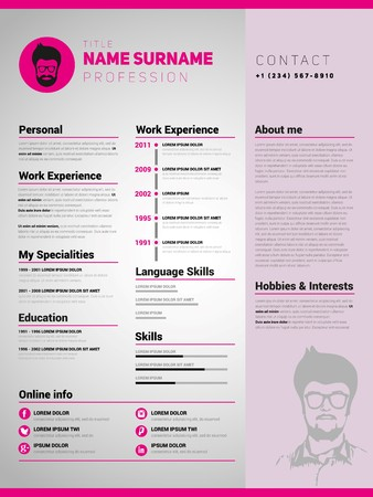 Resume template, Minimalist cv, Vector design  イラスト・ベクター素材