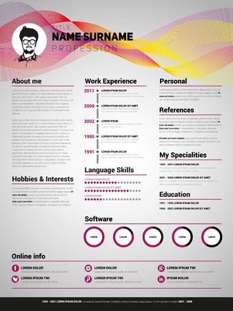 Resume template, Minimalist cv, Vector design Illustration