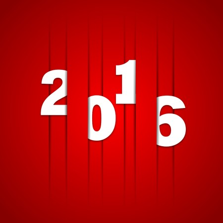 business space: 2016 Happy new year cutted lines in paper, vector red color design
