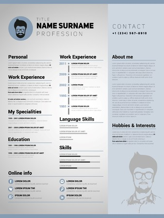 corporate people: Resume template, Minimalist cv, Vector design Illustration