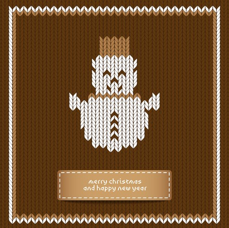 knitted: Snowman - Brown Merry Christmas Scandinavian style vector knitted card