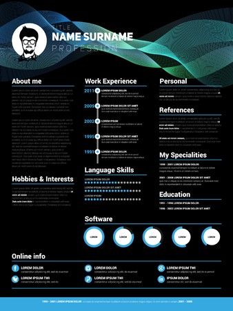 job descriptions: Resume template, Minimalist cv, Vector design, dark style Illustration