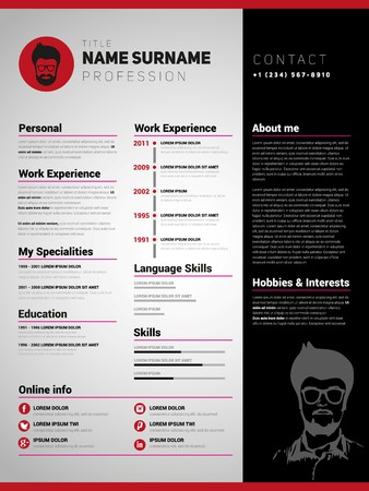 job descriptions: Resume template, Minimalist cv, Vector design Illustration