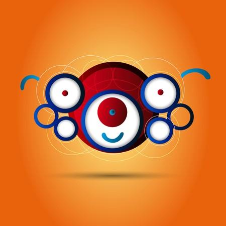 creature: Abstract circle creature on orange background Illustration