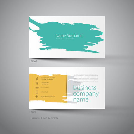 Art business card template with stain of spatter style design Illustration