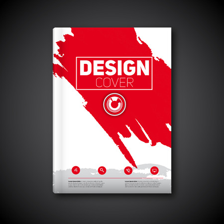 Business modern Vector abstract book cover template with color ink stain, red version  イラスト・ベクター素材
