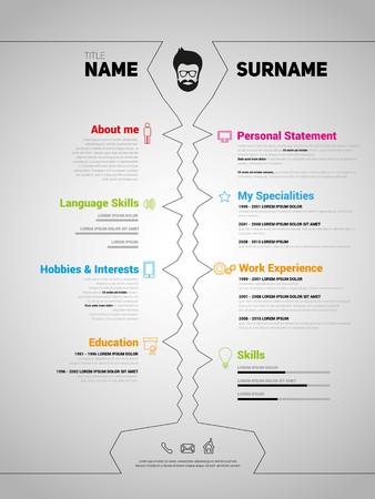 Minimalist CV, resume template with simple design, vector