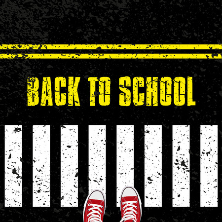 road safety: Back to school, Road safety concept with sneakers