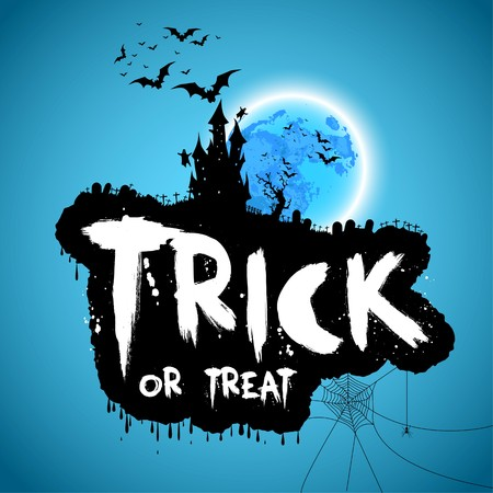 halloween message: Trick or treat, Happy halloween design on blue background with bats and castle, vector illustration
