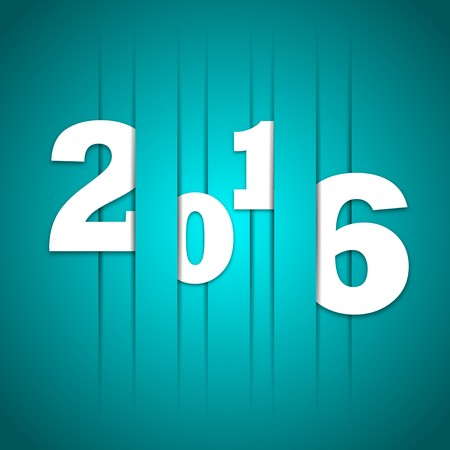 fiambres: 2016 Happy new year cutted lines in paper, vector blue color design Vectores