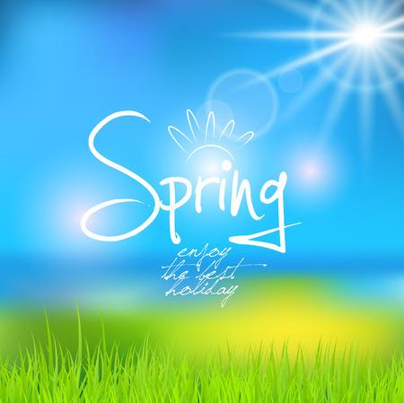 fondo natural: Primavera de fondo natural soleado, ilustraci�n vectorial