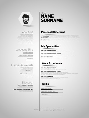 minimalist cv resume template with simple design vector vector