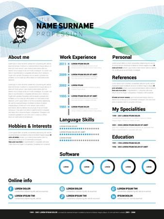 Resume template, Minimalist cv, Vector design  イラスト・ベクター素材