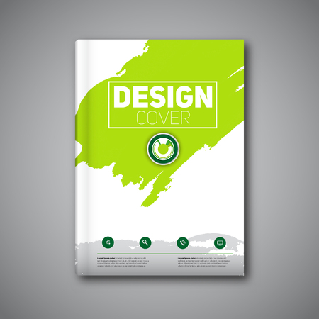 Business modern Vector abstract book cover template with color ink stain, green version
