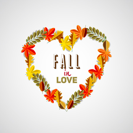 passion ecology: Fall in love quote, autumn leaves background heart theme