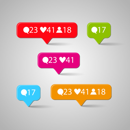 Icon set, Like, follower, comment. Vector illustration  イラスト・ベクター素材