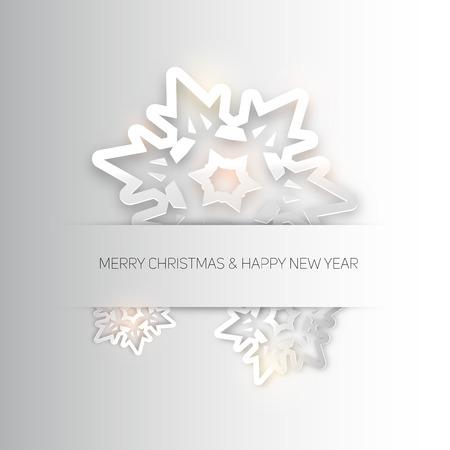 fiambres: Tres blancos papercut copos de nieve de Navidad en un fondo blanco, ilustraci�n vectorial
