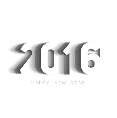 Happy new year 2016 Text Design, paper cut style modern simple vector, white background