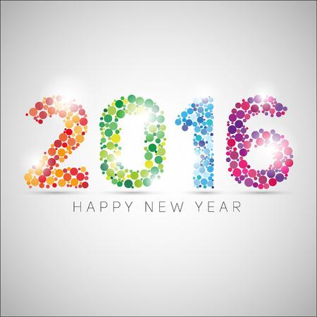 新年あけましておめでとうございます 2016年。カラフルなドットのデザイン。シンプルなスタイルのベクトル図 写真素材 - 46492881