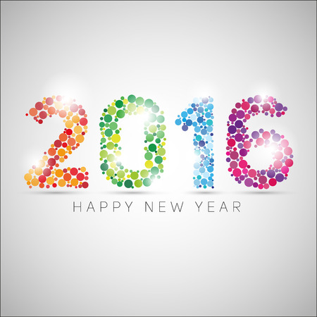 year: Happy new year 2016. Colorful dots design. Vector simple style illustration Illustration