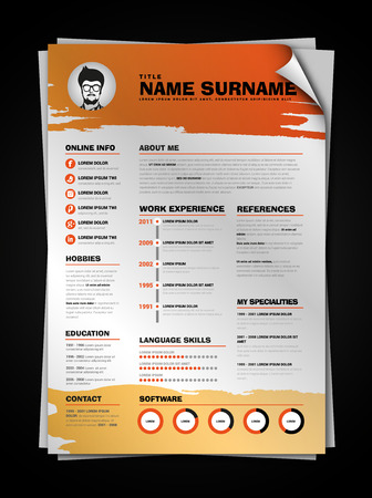 paper sheet: Minimalist CV on paper sheet with curl corner, resume template with simple design, vector, orange version