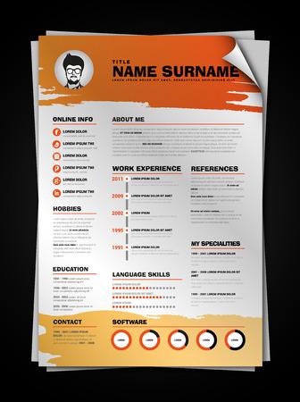 minimalist: Minimalist CV on paper sheet with curl corner, resume template with simple design, vector, orange version
