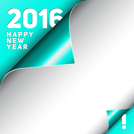 curle: Christmas Happy New Year Card, Curle turquoise corner and white Sheet 2016 Illustration