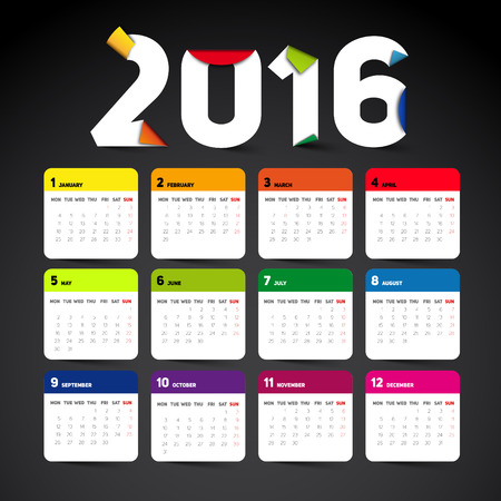 desk calendar: Simple 2016 Calendar, 2016 calendar paper design, week starts with Sunday