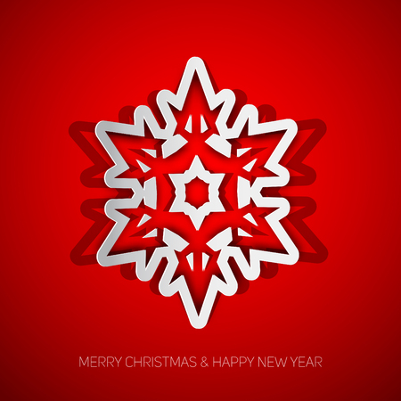 cold cuts: White papercut christmas snowflake on a red background, Vector illustration