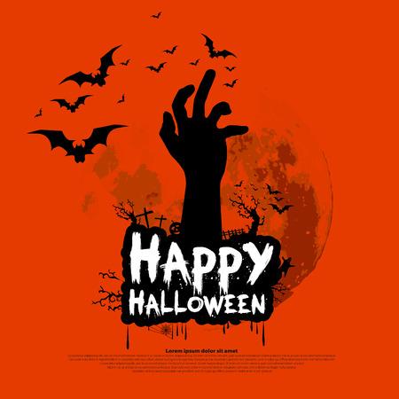 zombie hand: Happy Halloween design with zombie hand, bats, graves, moon, vector illustration background