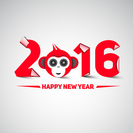 moder: Happy new year, 2016, with monkey head - the year of monkey, letters in papercut style, moder design Illustration