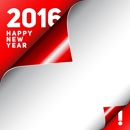 new corner: Christmas Happy New Year Card, Curle red corner and white Sheet 2016