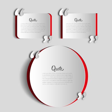 Set of papercut Quote text bubbles. place for your note, message and comment, element design template Vettoriali