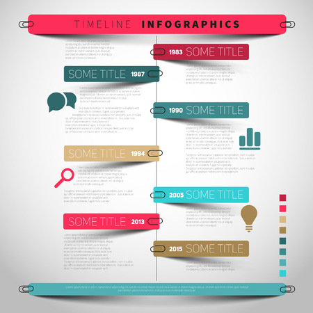 report icon: Vector timeline Infographic report template with paper stripes and icons